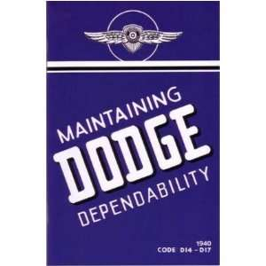 1940 DODGE Car Full Line Owners Manual User Guide
