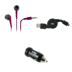 5mm Stereo Earbud Headphones (Hot Pink) + USB Car Charger Adapter