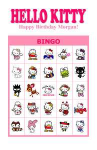 Hello Kitty Birthday Party Game & Activity Bingo Cards