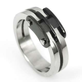 Mens Ladys Black Silver Stainless Steel Love Ring Size 8