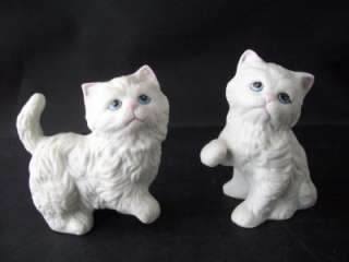 Homco White Persian Cats Kittens 1413 Figurines CUTE