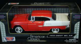NEW ~ MOTOR MAX 1955 Chevy Bel Air Red White 124 AMERICAN CLASSICS