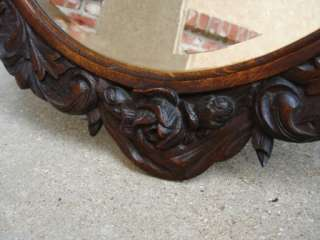 Antique English Carved ROUND Wall Mirror Black Forest