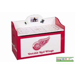 Detroit Red Wings Wood Wooden Toy Box Chest Sports