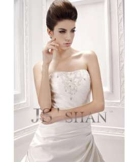 SALEJsshan Ivory Beading Layered Strapless Bridal Gown Wedding Dress