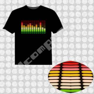 Cotton Sound Activated Light up Dancing LED EL T Shirt