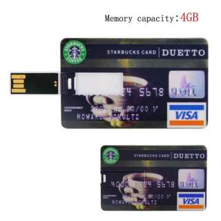 4GB Credit Card Starbucks Visa USB Flash Drive Pen Stick Memory