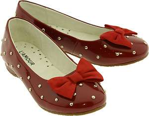 New LAmour Girls V8000 Wine/Red Patent Studded Mary Janes with Velvet