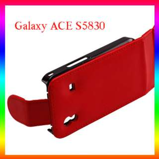 RED Leather Case Cover Pouch F Samsung Galaxy ACE S5830
