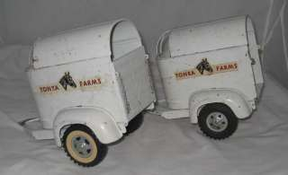 1959 TONKA FARMS STAKE TRUCK WITH 2 HORSE TRAILERS