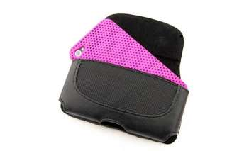Hot Pink Perforated Back Case + Leather Holster Combo for Apple iPhone
