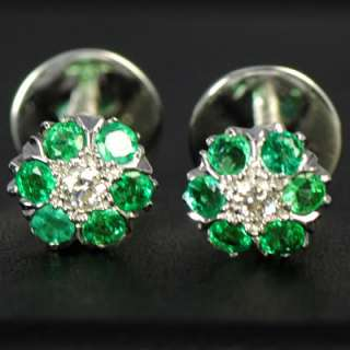 9k Pure White Gold Natural Top Green Emerald Diamond Ladies Earrings