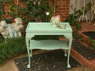 STUNNING SHABBY ANTIQUE COFFEE or SIDE TABLE AQUA~CARVED WOOD~CHIC