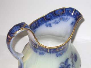 Beautiful Early Antique Flow Blue China Pitcher Greek Key Floral Gold