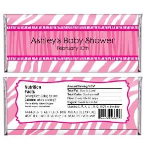 Baby Zebra   Personalized Candy Bar Wrapper Baby Shower Favors Toys