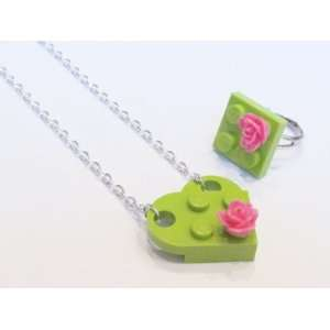 Upcycled LEGO Heart Necklace with Hot Pink Rose and Ring Set Jewelry