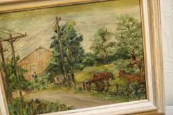 Vintage Oil Painting Western Landscape Horses Dirt Road Barn