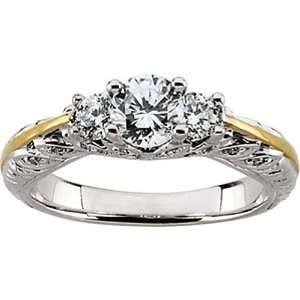 14K Two Tone Gold Diamond Engagement Ring   0.87 Ct