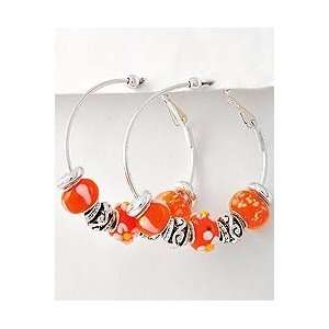 Silver Hoop Earrings ~ Lightweight Small Orange Murano Glass Beads
