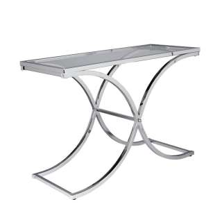 Transitional Glass & Chrome Sofa Table Accent Table NEW