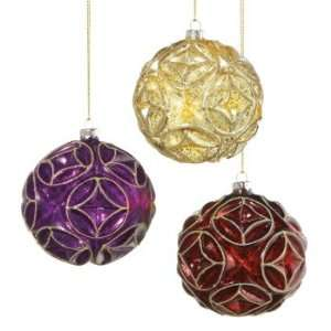 Set of 6 Bejeweled Glass Ball Christmas Tree Ornaments 4