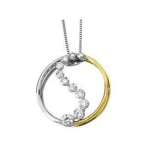 14K Two Tone Gold Diamond Journey Pendant DivaDiamonds