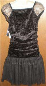 NEW BCX GIRL BLACK VELVET PARTY DRESS GIRLS SIZE 16 NWT