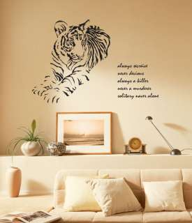HUGE TIGER Adhesive Removable Wall Decor Accents Graphic Stickers