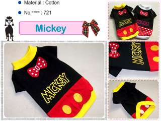Small Dog Clothes Disney Costume Mickey T Shirts,721