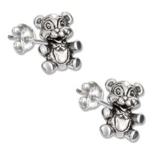 Sterling Silver Mini Teddy Bear with Bow Tie Earrings Jewelry