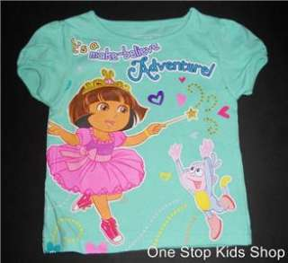 EXPLORER Girls 24 M 2T 3T Short Sleeve SHIRT Top BOOTZ Dance Ballerina