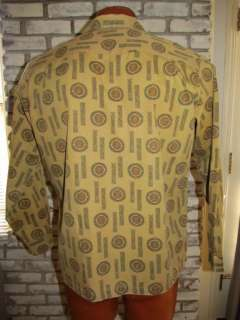 1950s Vtg STYLETOWN Early American 100% COTTON Buttons SHIRT Greens L