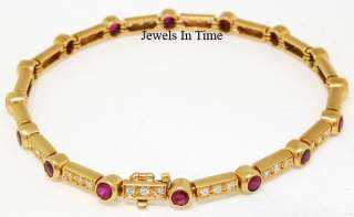 Bracelet Ladies 18k Yellow Gold Diamond & Ruby