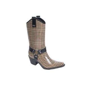 Nomad W7759_Brown/Black plaid Womens Harness Rain Boot Baby