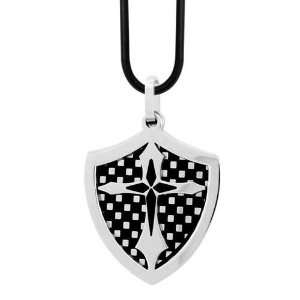 Mens Stainless Steel The Knight Shield Cross Pendant