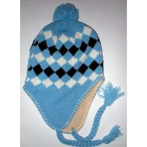 Womens Warm Winter Fleece Earflap Light Powder Blue Ski Hat