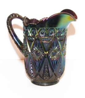 Diamond Lace Carnival Glass Water Pitcher Purple Amethyst pre 1940