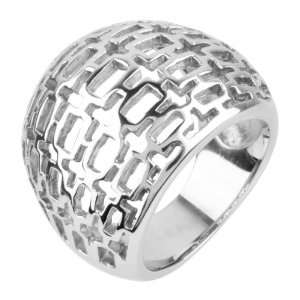 Womens Cocktail Stainless Steel Ring with Infrequent Rectangular