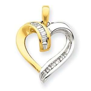 14k Gold Two Tone Diamond Heart Pendant Jewelry