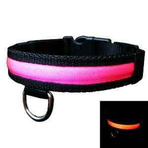 Adjustable LED Light Flat Collar for Pet Dog Pink XL Size