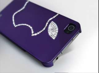 New Luxury Purple Apple Swarovski Crystal Bling Case Cover For Iphone