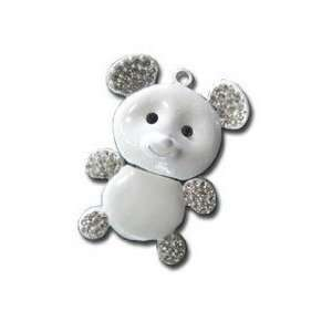 8GB Cute White Crystal Bear Style USB Flash Drive with