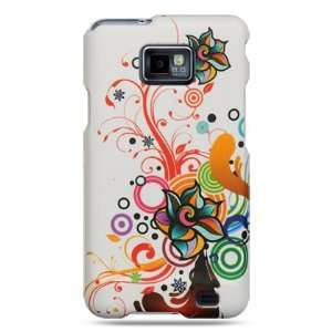 Rubber white case with autumn flower design for the Samsung Galaxy S