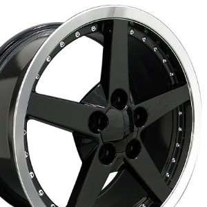 C6 Deep Dish Wheels with Rivets Fits Camaro Corvette   Black 18x8.5