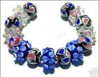 HANDMADE LAMPWORK GLASS BEADS Cobalt Blue & Pink Flower