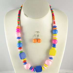ONE SET ELDER KIDS PARTY GIFT CUTE MIX COLOR WOOD BEAD NECKLACE
