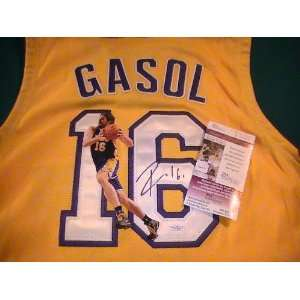 PAU GASOL, SIGNED AUTOGRAPHED LOS ANGELES LAKERS JERSEY W