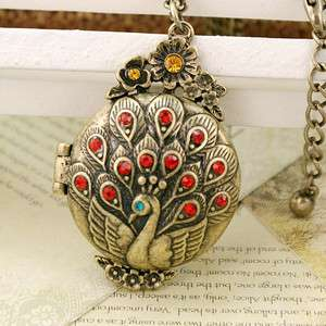 NL0114 Red Peacock Open Case Fashion Jewelry Long Chain Pendant