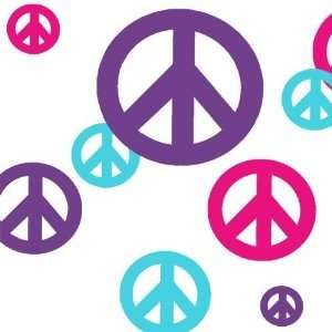 Peace Sign Wall Sticker Decals (24) Hot Pink, Teal, Purple