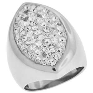 Inox Jewelry Womens Pear Shaped cz 316L Stainless Steel Ring Jewelry